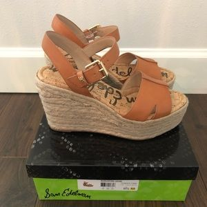 Sam Edelman espardrille wedge leather 8.5 tan